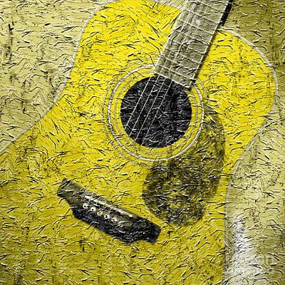 Painted Guitar - Music - Yellow Art Print by Barbara Griffin