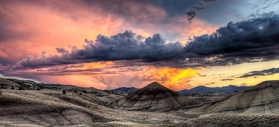 John Day Photograph - Painted Hills In Oregon Panorama At Sunset by David Gn