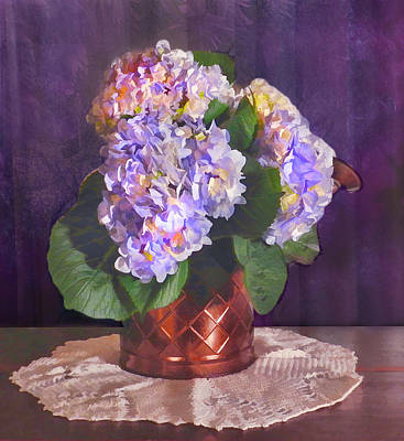 Digital Art - Painted Hydrangeas by Grace Dillon