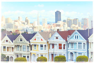 Fell Painting - Painted Ladies Alamo Square San Francisco by Douglas MooreZart
