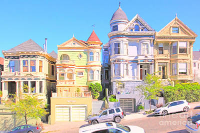 Bay Area Digital Art - Painted Ladies Of San Francisco Alamo Square 5d28013 by Wingsdomain Art and Photography