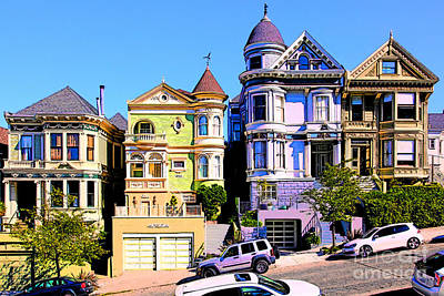 Bay Area Digital Art - Painted Ladies Of San Francisco Alamo Square 5d28013v2 by Wingsdomain Art and Photography