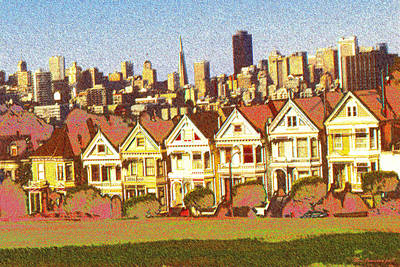 Drawing - Painted Ladies San Francisco - Color Illustration by Peter Potter