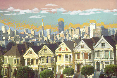 Painting - San Francisco Alamo Square - Watercolor Illustration by Peter Potter
