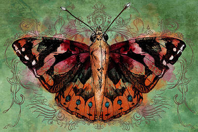 Red Ribbon Digital Art - Painted Lady by April Moen