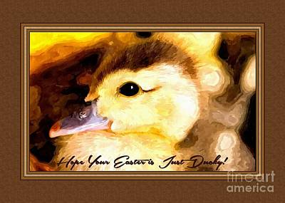 Digital Art - Painted Lil Ducky Easter by JH Designs