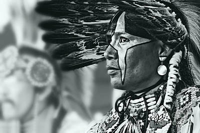 Painted Native In Silver Screen Tone Art Print by Scarlett Images Photography