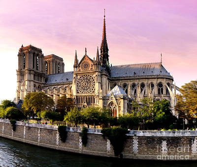 Notre Dame Digital Art - Painted Notre Dame by Phill Petrovic