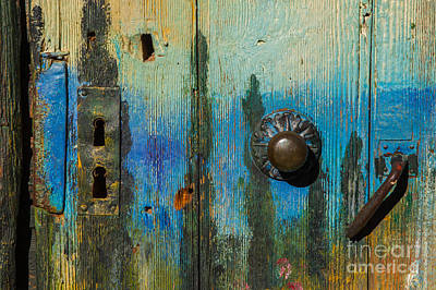 Photograph - Painted Old Wooden Door by Jean-Luc Baron