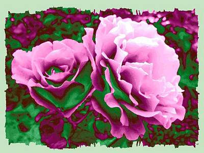 Digital Art - Painted Pink Roses by Will Borden