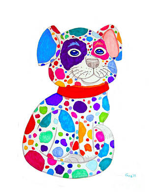 Painted Pooch Print by Nick Gustafson