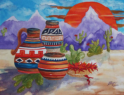 Painted Pots And Chili Peppers Art Print by Ellen Levinson