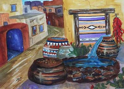 Painted Pots And Chili Peppers II  Art Print by Ellen Levinson