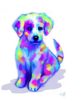 Doggie Digital Art - Painted Pup by Nick Gustafson