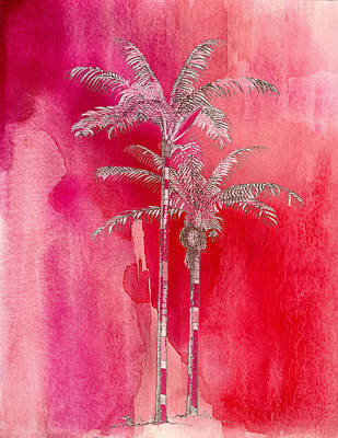 Painted Red Palm Art Print by Kandy Hurley