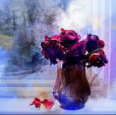 Painted Roses In Window Art Print by Terry Rowe