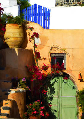 Wall Art - Photograph - Painted Santorini Village by Jack Daulton