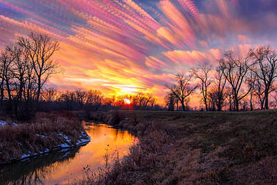 Indiana Rivers Digital Art - Painted Skies At Sunset by Jackie Novak