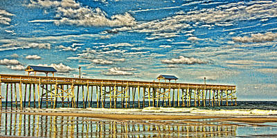 Surrealism Royalty-Free and Rights-Managed Images - Surreal Reflection Pier by Paula Porterfield-Izzo