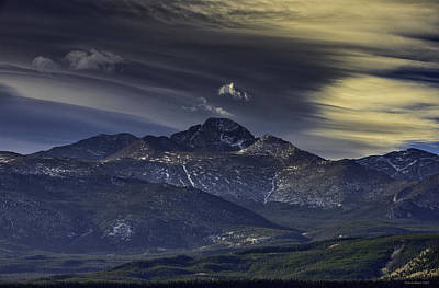 Painted Sky Over Longs Peak Art Print by Tom Wilbert