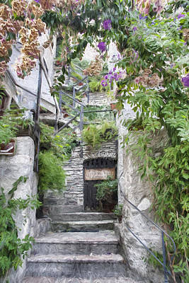 Photograph - Painted Effect -  Stone Steps by Susan Leonard