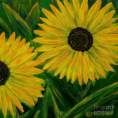 Painting - Painted Sunflowers by Barbara Moignard