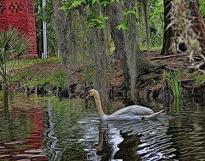 Photograph - Painted Swan by Judy Vincent