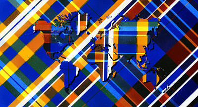 Scotch Painting - Painted Tartan World Map by Hakon Soreide