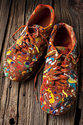 Messy Photograph - Painted Tennis Shoes by Garry Gay