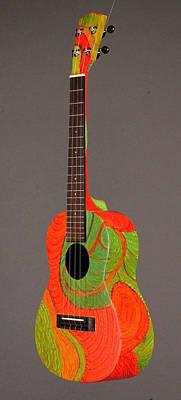 Decorated Ukulele Painting - Painted Tenor Uke by Jean Groberg