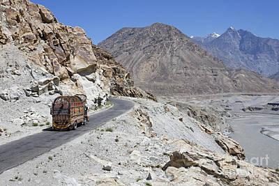 Painted Truck On The Karakorum Highway In Pakistan Print by Robert Preston