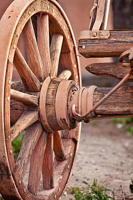 Wagon Wheels Photograph - Painted Wagon Wheel by Art Block Collections