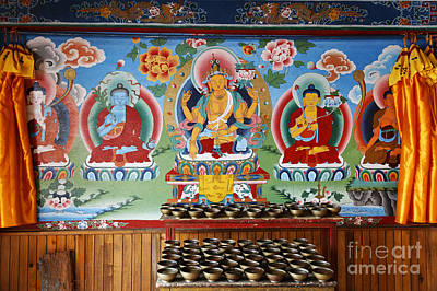 Religious Art Photograph - Painted Walls At The Buddhist Phodong Monastery In Sikkim India by Robert Preston