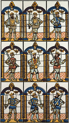 Painted Image Drawing - Painted Window Two Saxon Earls Of Mercia And Seven Norman by English School