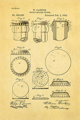 Painter Photograph - Painter Bottle Cap Patent Art 1892 by Ian Monk