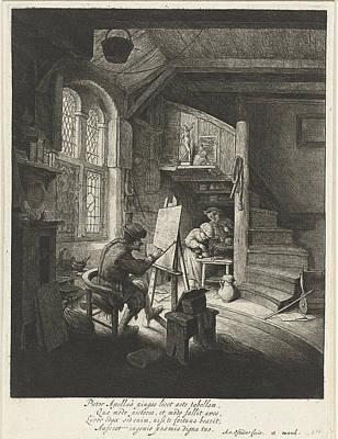 Staircase Painting - Painter In His Studio, Adriaen Van Ostade by Adriaen Van Ostade And Anonymous