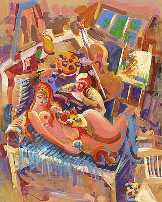Studio Drawing - Painter In The Workshop by Meruzhan Khachatryan