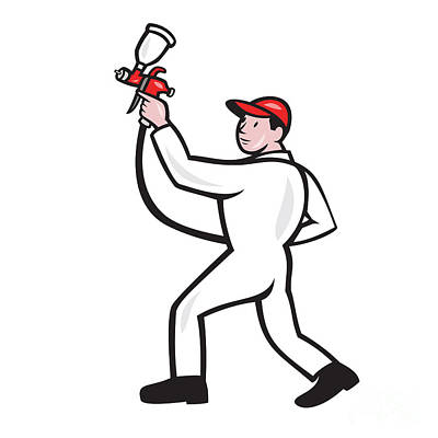 Painter Spray Paint Gun Side Cartoon Art Print by Aloysius Patrimonio