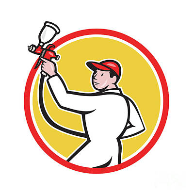 Painter Spray Paint Gun Side Circle Cartoon Art Print by Aloysius Patrimonio