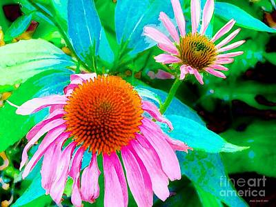 Art Print featuring the photograph Painterly Coneflowers by Annie Zeno
