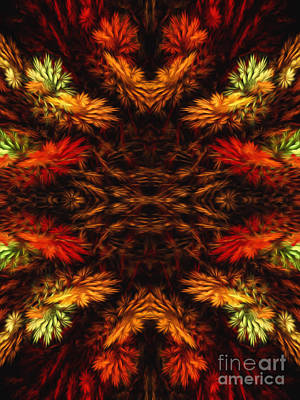 Mixed Media - Painterly Fall Fractal Abstract  by Andee Design