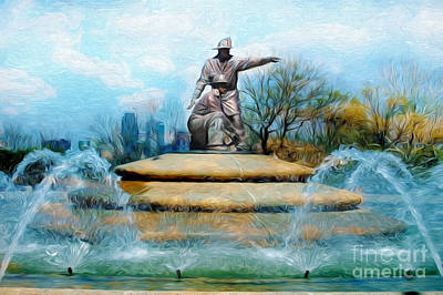 Mixed Media - Painterly Firefighters Memorial Fountain  by Andee Design