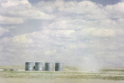 Gravel Road Photograph - Painterly Photo Of Grains Bins by Roberta Murray