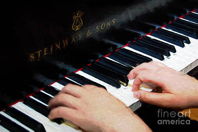 Mixed Media - Painterly Playing A Steinway Piano by Andee Design