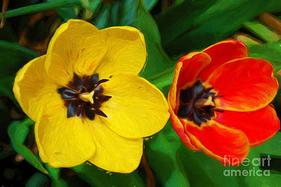 Mixed Media - Painterly Red And Yellow Tulips  by Andee Design