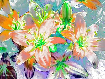 Painting - Painterly Tiger Lilies by Annie Zeno