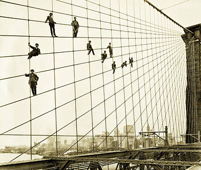 Painters On The Brooklyn Bridge 1914 Art Print by Mountain Dreams