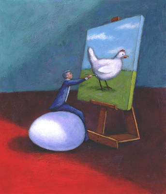 Visionary Artist Painting - Painting A Chicken by Steve Dininno