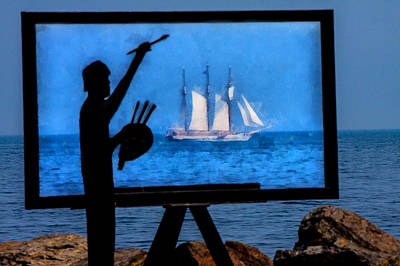 Photograph - Painting A Picture Of Schooner Mystic  by Jeff Folger