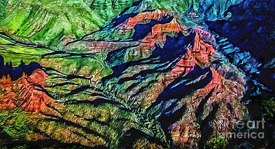 Painting - Painting Aerial View Sedona Arizona by Bob and Nadine Johnston